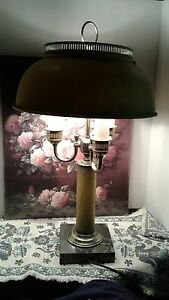 Antique 19th Century French Empire Bouillotte Marble Base Table Lamp