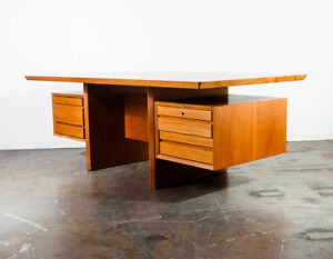 Mid Century Danish Modern Desk Executive Cado Teak Denmark Large Vintage Drawers