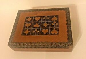 Vintage Pegasus Brand Hand Carved Wood Playing Card Storage Box Made In Poland