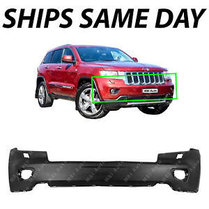 New Primered Front Bumper Cover For 2011 2012 2013 Jeep Grand Cherokee W Fog