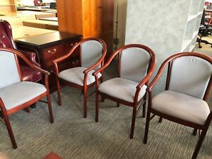Lot Of 5 Guest side Chairs By Steelcase Office Furniture W Mahogany Frame
