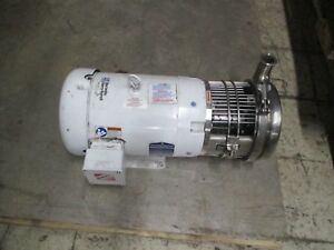 Waukesha Cherry burrell Stainless Steel Pump W Motor C218 cwdm3711t 10hp Used
