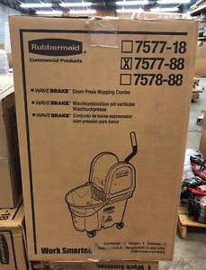 New Rubbermaid Commercial 7577 88 Wavebrake 35 quart Bucket wringer Comb Yellow