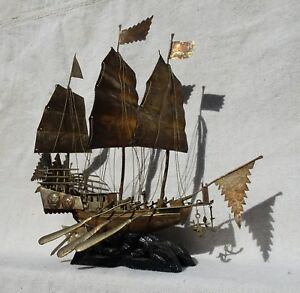 Antique Chinese Metal War Ship On Carved Wooden Stand