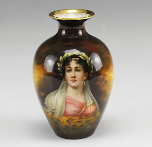German Art Deco Royal Schwarzburg Hand Painted Porcelain Vase W Lady S Portrait