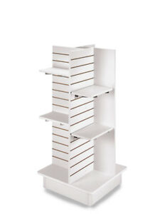 4 panel White Slatwall Tower With Casters And Shelves 23 l X 23 w X 54 h