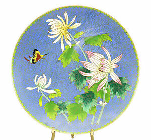 Cloisonne Enamel Chinese Footed Floral Plate Floral Butterfly