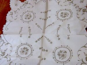 Vintage Embroidered White Linen Taupe Silk Scallop Hemmed Table Cloth