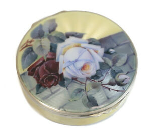 Charming German Sterling Silver Guilloche Enamel Mirror Compact Case