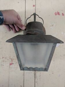 Vtg Brass Nautical Lantern Exterior Porch Wall Light Fixture Sconce Old