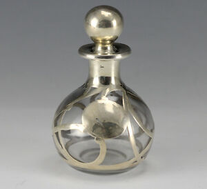 Sterling Silver Overlay On Glass Perfume Bottle Flacon Scroll Design