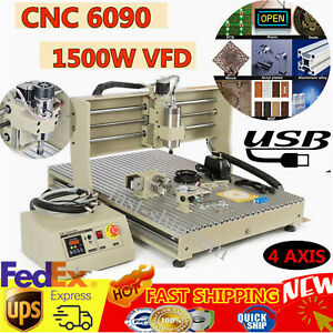 Usb 6090 1500w 4axis Cnc Router Engraver Engraving Milling Drilling Machine gift