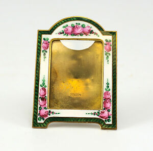 Art Deco Bronze Floral Emerald Enamel Miniature Picture Frame W Easel Back