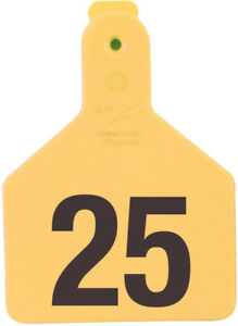 Z Tags Calf Yellow Numbered Ear Tags 126 150