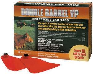 Double Barrel Vp Fly Insecticide Cattle Ear Tags 20 Count Dairy Calves Bovine