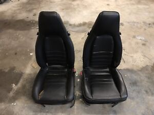 85 5 88 Porsche 944 Oem Black Leather Seats Front Pair Left Right Needs Work