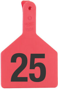 Z Tags Cow Ear Tags Red Numbered 126 150