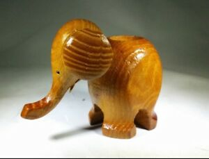 Vintage Mid Century Danish Modern Wood Elephant Figurine Candle Holder Teak