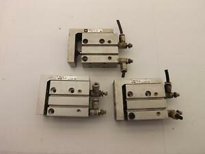 Lot Of 3 Smc Mxu16 5 Pneumatic Guided Cylinder T40360