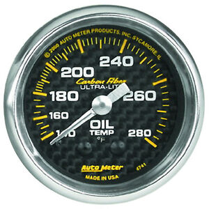 Autometer 4741 Carbon Fiber Oil Temperature Gauge 2 1 16 Full Sweep