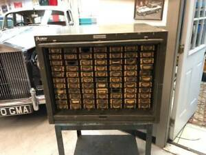Addressograph Steel Cabinet With Seventy Seven Compartments
