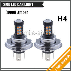 2pc H4 9003 Hb2 Led Bulbs Fog Light Driving Lights 30smd High Power Yellow Amber