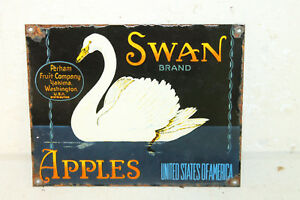 Vintage Style Swan Apples Porcelain Signs Country Store Advertising