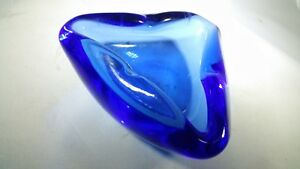 Vintage Mid Century Danish Modern Triangular Glass Ashtray Heavy Atomic