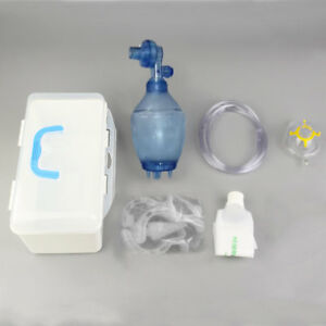 Manual Resuscitator 1600ml Pvc Kid Ambu Bag Oxygen Tube Cpr First Aid Kit He