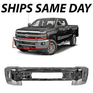 New Chrome Steel Front Bumper For 2015 2019 Chevy Silverado 2500 3500 Hd W Fog