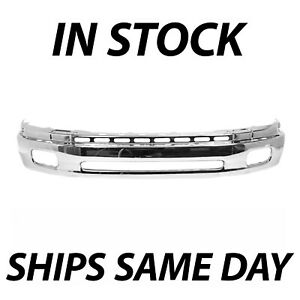 New Chrome Steel Front Bumper Face Bar For 2000 2006 Toyota Tundra W Fog 00 06