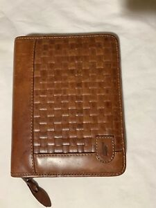 Hartmann By Lombardo 6 Ring Brown Leather Zip Agenda Organizer Planner
