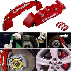 4pcs Abs Plastic Truck 3d Red Car Disc Brake Caliper Covers Front Rear Kit K3s8