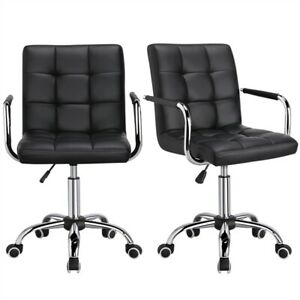 2x Modern Computer Desk Executive Office Chairs Vanity Swivel Chair Wheels Cute