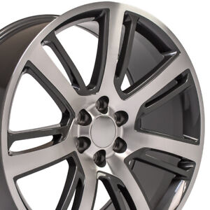 24 Rims Fit Cadillac Escalade Tahoe Yukon Gunmetal Mach d Wheels 4738 Set