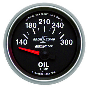 Autometer 3648 Sport Comp Ii Oil Temperature Gauge 2 1 16 Short Sweep