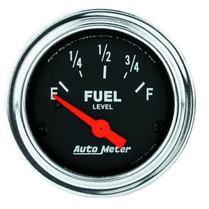 Autometer 2514 Traditional Chrome Fuel Level Gauge 0 Ohm Empty 90 Ohm Full