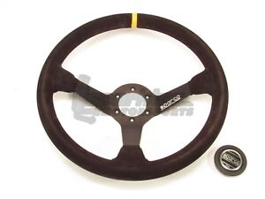 Sparco R325 Steering Wheel 350mm Black Suede Round W Yellow Centering Stripe