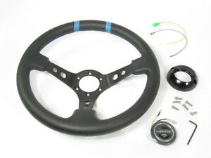 Nrg 350mm Sport Leather Steering Wheel 3 Deep Black With Blue Center Markings