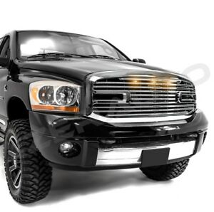 06 09 Dodge Ram 2500 3500 Front Hood Chrome Big Horn Ii Grille Replacement Shell
