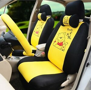 18 Piece Yellow Winnie The Pooh And Piglet Car Seat Covers