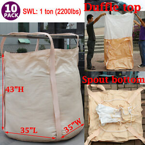 10pcs Fibc Bulk Polypropylene 1 One Ton Bags 35x35x43 Feed Grain Tote Wholesale