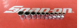 Snap On Tools 1 4 Drive 10 Pc Sae Shallow 6 Pt Socket Set 110tmy Ships Free