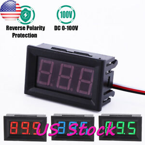 Mini Dc 100v Digital Voltmeter Blue Red Green Led Volt Amp Meter Gauge Voltage