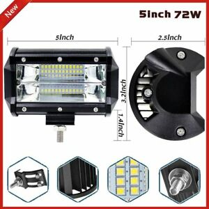72w 12v 24v Led Work Spot Light Bar Beam Off Road Bar Lamp Suv Car Truck Boat Ew