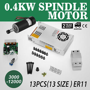 Cnc 0 4kw Spindle Motor Er11 Mach3 Pwm Controller Mount Speed Kit Engraving