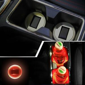 2x Solar Cup Holder Bottom Pad Red Led Light Cover Trim Atmosphere Lamp 72mm Re