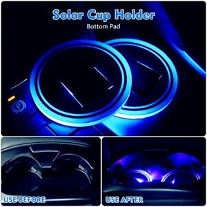 2x Solar Cup Holder Bottom Pad Blue Led Light Cover Trim Atmosphere Lamp 72mm Re