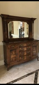 Vintage Dining Room China Cabinet Cupboard With Mirror Local Pick Up Only