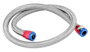 Braided Stainless Steel Fuel Line Flexible 3 8 X 3 Red Blue Clamps 29490